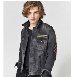 Guess Dillion Denim Jacket XL Black/ Gold details